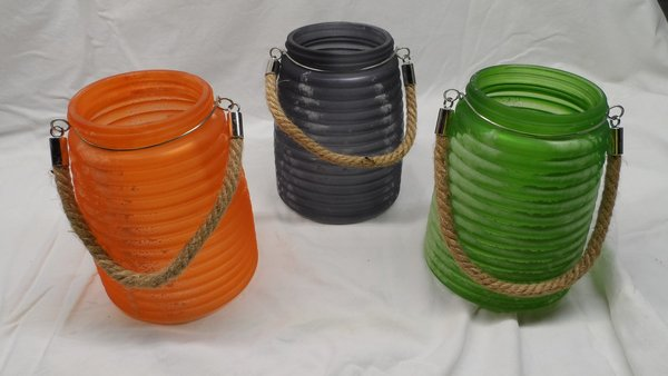 Set mit 3 Windlichter Missoula L Orange, Grau, Grün